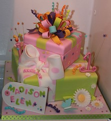 Stacked gifts for Madison (Andrea's SweetCakes) Tags: butterfly stars candle birthdaycake presents daisy streamers bows giftboxes gifttags loopybow stackedgifts