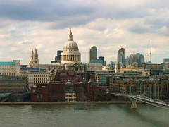St. Paul's Cathedral as Viewed from the Tate Modern Cafe (UGArdener) Tags: uk england london thames view britain tatemodern explore stpaulscathedral frontpage afternoontea thamesriver millenniumfootbridge