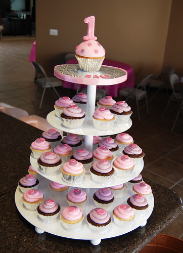 purple and pink 1st birthday cupcake tower