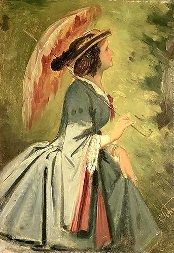 Moritz Ludwig von Schwind, Portrait of Anna, the artist's daughter, 1860 (Red Umbrella)