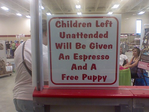 Children are given an espresso and free puppy