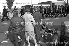 84100202 (Martin Jenkinson Images) Tags: uk england monochrome unitedkingdom south yorkshire police photograph strike miners rossington southyorkshire gbr minersstrike martinjenkinsonwwwpressphotoscouk