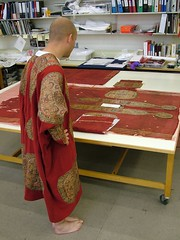 The replica of the Egyptian tunic alongside the original in Textiles Conservation.