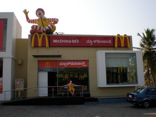 A McDonalds on the way to Mysore