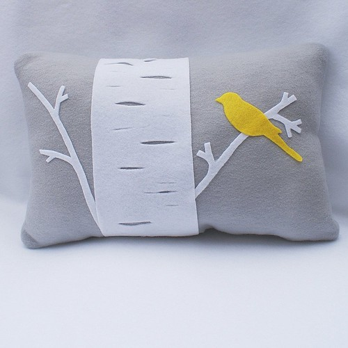 Birch Tree With Yellow Bird - Eco Felt Pillow