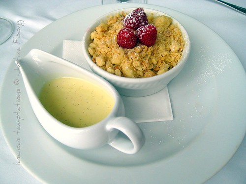 Pear and Raspberry Crumble with Custard - Roast, Borough
