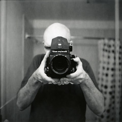 mamiya rb67 tryout (instant satisfaction) Tags: blackandwhite bw selfportrait mamiya me self polaroid bathroom fuji pb fujifilm 90mm pretoebranco showercurtain blancinegre rb67 f38 fp3000b whatabeast