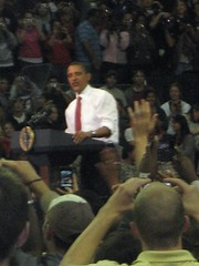 President Obama addressing the crowd of 20,000