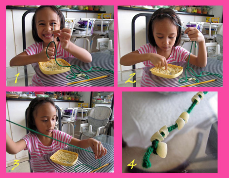 Stringing Macaroni