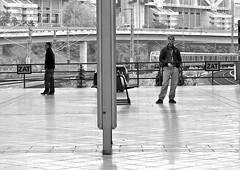 waiting for the train (Winfried Veil) Tags: bridge blackandwhite bw man berlin men lines station sign train germany deutschland waiting track veil metro platform eisenbahn rail railway zug bahnhof line schild ubahn rails wait sw handrail mann railing sbahn schwarzweiss icc gleise winfried bahnsteig balustrade suburbantrain warten gleis bln wartend schnellbahn zat schwarzweis brucke untergrundbahn rapidtransitrailway manner gelander interurbantrain mobilew winfriedveil stadtgetty2010