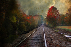 Autumn Tracks (Distressed Jewell) Tags: sky clouds sunrise tennessee fallcolors jewell railroadtracks falldays coolerdays