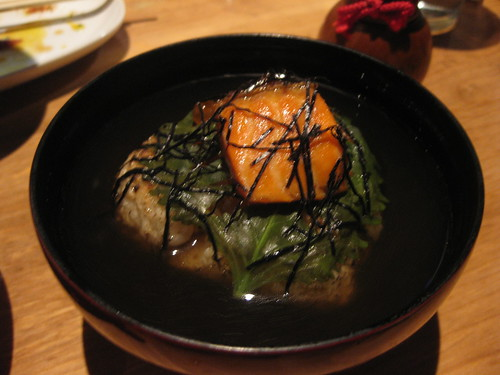 Raku - Onigiri in Dashi broth and salmon