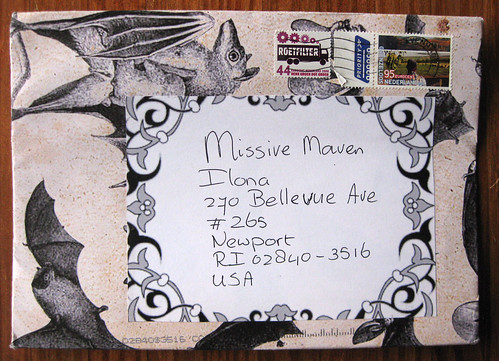 Autumn bats mail art envelope