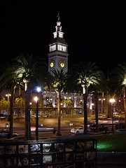 Ferry Building at Night - San Francisco (Blue Rave) Tags: sf sanfrancisco california road nightphotography light color colour building colors architecture night buildings lights office downtown nightimages colours angle angles illumination officebuilding illuminated palmtrees nightshots ontheroad offices