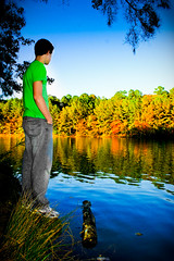 "Day 105/365 ""Lake Pine"" (JustinPoliachik) Tags: blue justin autumn portrait sky orange lake reflection fall water colors leaves pine standing self project day north days edge apex carolina ripples 365 365days poliachik"