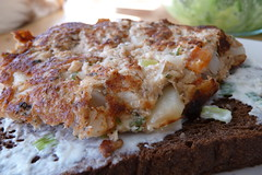 Salmon Cake on Black Bread