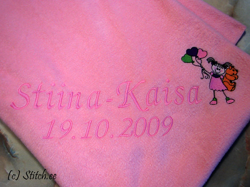 embroidered baby's blanket