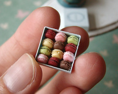 Miniature Dollhouse Food - Tiny Miniature Macaron Box (PetitPlat - Stephanie Kilgast) Tags: france colors french miniatures rainbow little handmade polymerclay fimo macaroon tiny minifood 112 collector dollhouse laduree macaron miniaturefood puppenhaus miniaturen oneinchscale petitplat