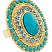 18K Gold Turquoise and Blue Topaz Harem Ring