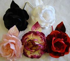 ER 317 Silk/Velvet Rose/Leaf (Ellie-Rose Limited) Tags: pink flowers red black fashion rose leaf women silk ivory velvet fabric accessories claret