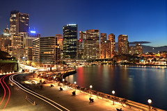 Autumn Quay Twilight (Xenedis) Tags: city skyline buildings twilight cityscape dusk sydney circularquay bluehour sydneyharbour sydneycove australia nsw newsouthwales sky water night clouds skyscrapers harbour