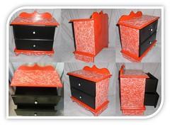 Mini cmoda (By Aline Design) Tags: mini preta vermelha mdf prata artesanto craquel cmoda