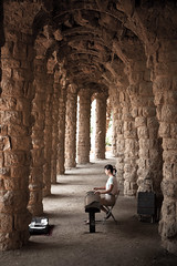 Guzheng Player, Park Gell (Hannes R) Tags: barcelona musician music woman architecture spain path columns catalonia gaudi column gell zither antonigaudi parkgell guzheng