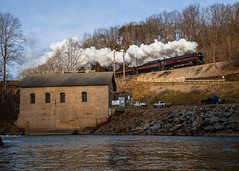 Steaming into 2017 (Jordan Hood) Tags: nw norfolkandwestern 611 fireup611 roaonke va virginia river dam steam train history appalachia sunrise