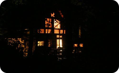 Cabin at night.