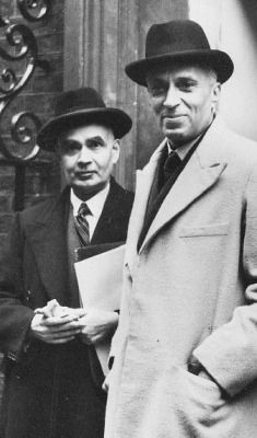 Prime Minister Jawaharlal Nehru with Girja Shankar Bajpai, the first Secretary-General of the Ministry of External Affairs, at the first meeting of Commonwealth Prime Ministers in 1948 in London.
