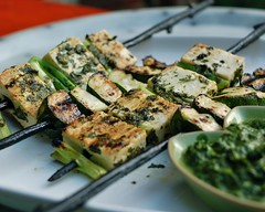 tofu kebabs with cilantro sauce (monika dabrowski) Tags: summer food green dinner recipe ginger vegan herbs sauce eating tofu squash vegetarian soy grilling grilled scallions cilantro skewers kebabs everydayfood