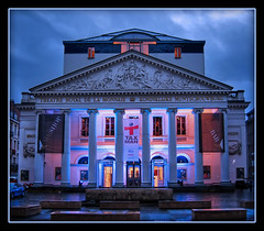 Brussels Royal Theatre (Mike G. K.) Tags: blue brussels sky building wet architecture clouds reflections lights belgium theatre columns bluehour operahouse raining hdr neoclassical ionic photomatix tonemapped tonemapping theatreroyaldelamonnaie triangularpediment royaltheatreofmonnaie mikegk:gettyimages=submitted