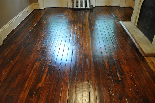 Stain was Provincial by Minwax on 130+ year old pine floors.