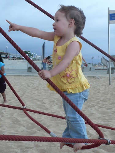 Playing at the beach in Barcelona