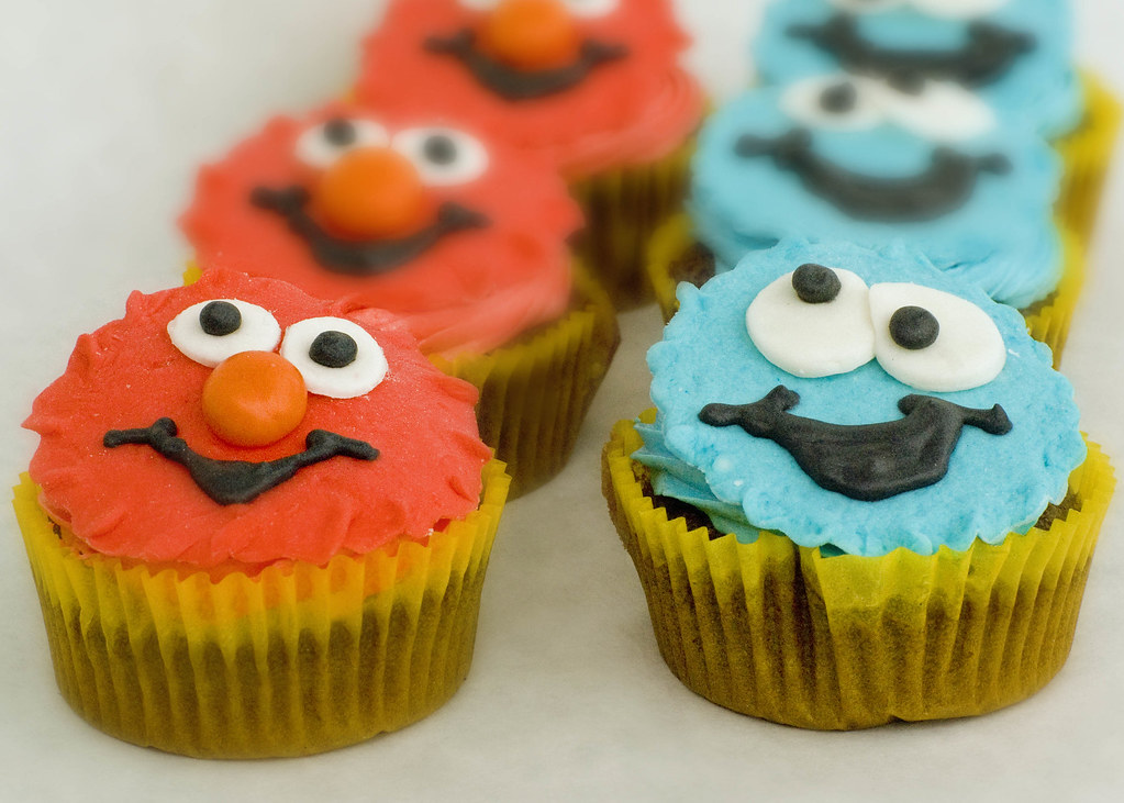 Elmo and Cookie Monster Ghirardelli Chocolate Cupcakes