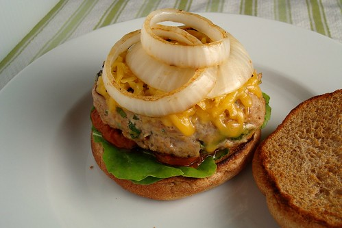 Turkey Burgers with Smoked Gouda and Grilled Onions