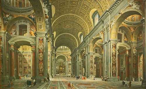 "Oil painting, ""Interior of St. Peter's, Rome"", by Giovanni Paolo Panini, Italian, 1731, at the Saint Louis Art Museum, in Saint Louis, Missouri, USA"