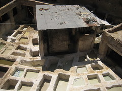 Looking down at the tannery pits (xnmeme) Tags: morocco fes tannery fs