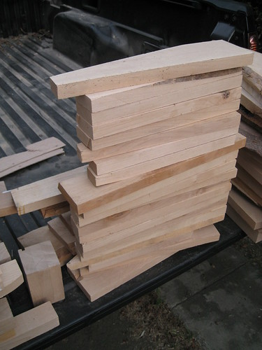 wedge-shaped pieces of alder