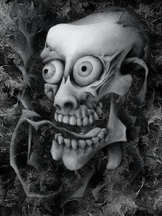 Digital Art - Living Skull by Nicholas M Vivian