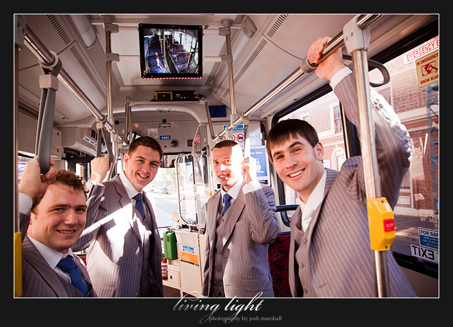 Groom & groomsmen on a bus