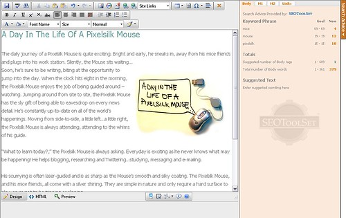 Pixelsilk Search Advice Content Editor
