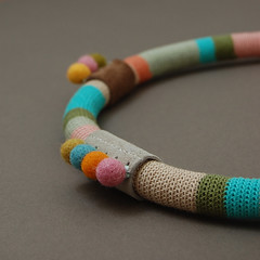 Crochet necklace detail (ELINtm) Tags: necklace colorful handmade stripes crochet jewelry felt jewellery handcrafted accessories colourful multicolored crocheted striped elinthomas