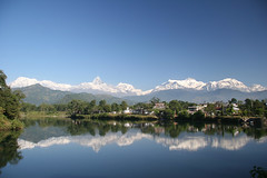 Pokhara, Annapurna range and Lake (blauepics) Tags: nepal people lake mountains nature landscape see asia earth natur menschen berge himalaya landschaft bergkette earthasia visipix