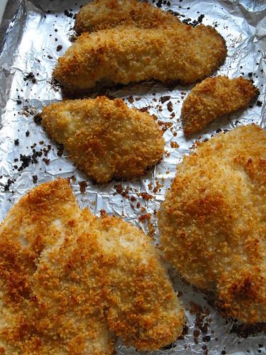 Bifes de frango panados no forno