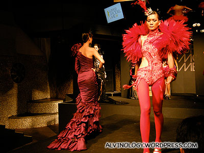 Flashy red gowns showcase