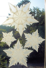 4 White Snowflake Stars for Winter and Christmas Decorations