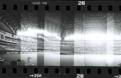 ballpark in NAGOYA (chant0m0) Tags: city bw panorama film japan analog lomo fuji nagoya neopan halfframe dianamini
