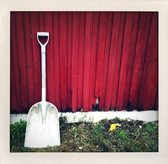 Single White Shovel Seeks Partner With Good Grip (Matt Burrows) Tags: cameraphone fall barn polaroid michigan toycamera shed cellphone instant grandrapids iphone grandrapidsmi shakeit fauxlaroid polaroidonized applehaus robinettes grflickr lovepolaroid iluviphone iphoneography iphoneographer shakeitphoto iphone3gs mattburrows iphonographie