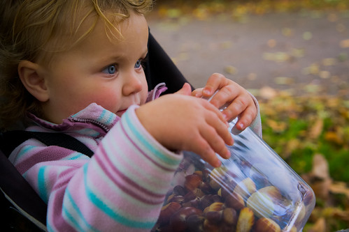 Small girl holding pot of chestnuts